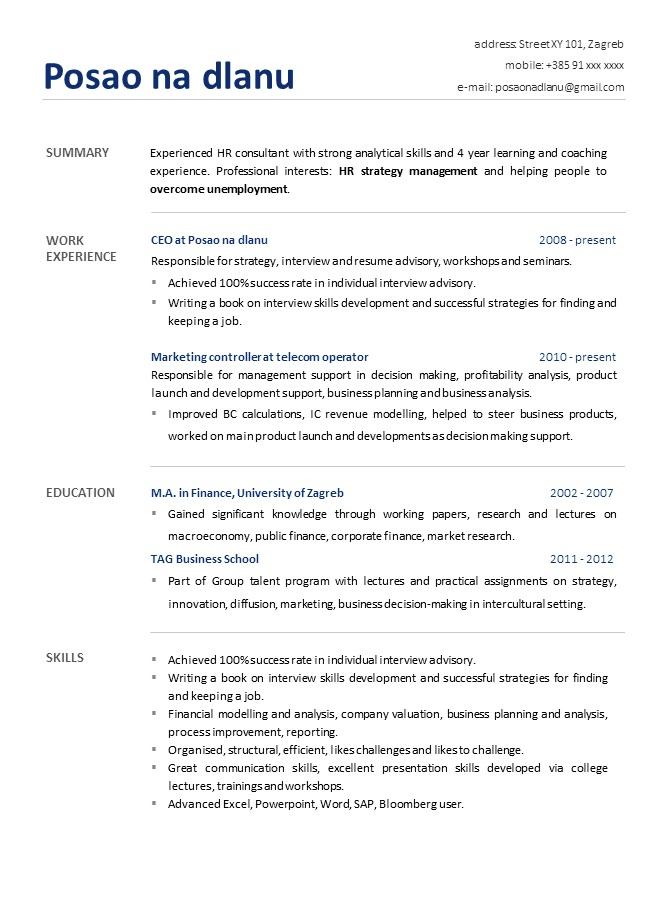Primjer Zivotopisa Za Posao Cv Template Ponuda Dizajniranih
